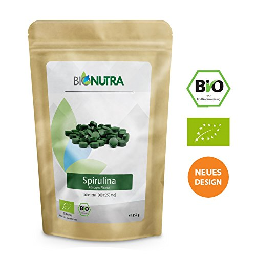 BioNutra Spirulina-Presslinge Bio 250 g, 1000 x 250 mg Tabletten, ohne Zusätze, rückstandskontrolliert, aus kontrolliert biologischer Kultur