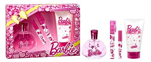 Air Val Barbie Geschenk-Set, 1er Pack (Eau de Toilette Spray 100 ml, Parfum-Stift 9,5 ml, Lipgloss, Bodylotion 150 ml) (Parfum Geschenk-set)