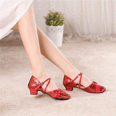 Scarpe da ballo - Non personalizzabile - Donna / Bambino - Latinoamericano - Basso - Paillettes - Rosa / Rosso / Oro Gold