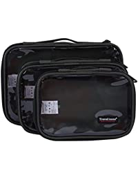 NiSeng 3 Piezas de diversos tamaños transparente accesorios electrónicos, cosmético ,neceser organizador de bolso