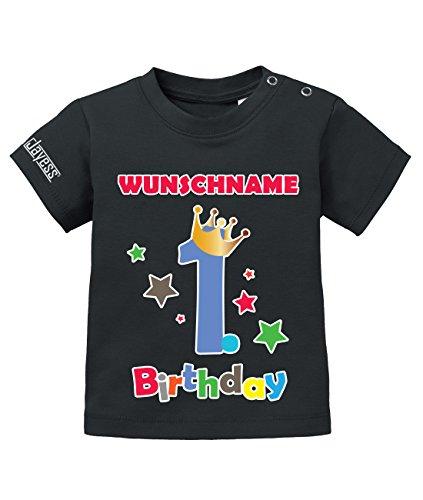 Jayess Geburtstag - First Birthday Shirt mit Personaliesierten Wunschnamen - Jungen - Baby T-Shirt in Schwarz by Gr. 80/86 (1. Jungen-geburtstag Shirt)