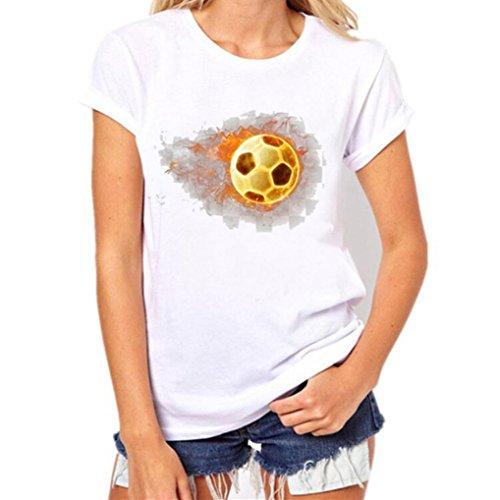 T-Shirt,Honestyi Neueste Modell 2018 Weltmeisterschaft T-Shirt Fußball Drucken Kurzarm Lässig Bluse Mode Streetwear Sweatshirts Tops Westen hautfreundlicher Modal Große Größe S-XXXL (XL, Weiß)