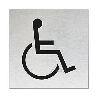 Ofform Alustyle WC Schild   Türschild -Behinderten-Toilette-   Aluminium Edelstahlschilder-Optik   Format 80x80 mm   vollflächige Selbstklebeausstattung   Nr.11519-S
