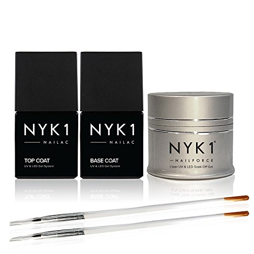 NYK1 FORCE-UV/LED, POWER GEL No More Broken Nails. & Plus, BASE per miglioramenti o Nails. Formula naturale Soak-Off-Spazzola con applicazione.