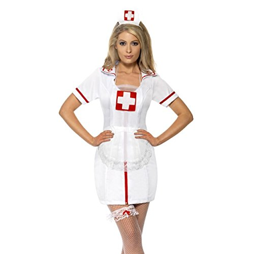 Kostüm Naughty Nette & - Womens Nurse's Kit White with Cap Garter and Net Apron Fancy Dress Matron Naughty Sexy Nurse Hen Do Party Wedding Shower Carry On