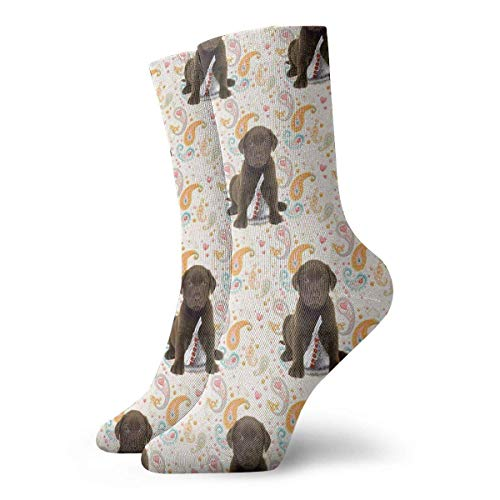 Puppy Chocolate Lab Kisses Men Women Novelty Funny Crazy Crew Sock Printed Sport Athletic Socks 30cm Long Personalized Gift Socks
