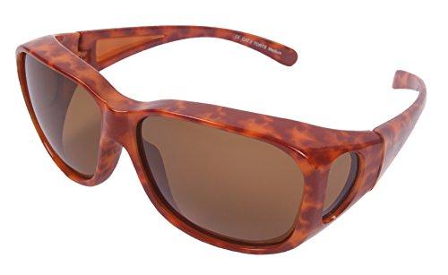 Rapid Eyewear Polarisierte Medium - Groß Schildpatt ÜBERBRILLE FÜR DAMEN zum Tragen über der Brille. Überzieh Sonnenbrille zum Fahren, Sport usw. Sonnenüberbrille mit UV 400 Schutz