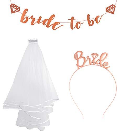 FEPITO 3 pcs JGA Deko Accessoires für Junggesellinnenabschied Dekorationen, Bride Schärpe, Braut Stirnband und Braut zu Sein Banner