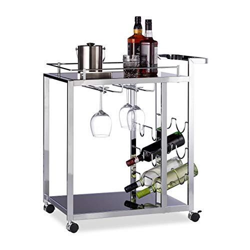 Relaxdays Servierwagen Glas BARON schwarz, Design Rund, Metall, HxBxT: 73 x 46 x 74 cm, Küchenwagen, Teewagen, black -