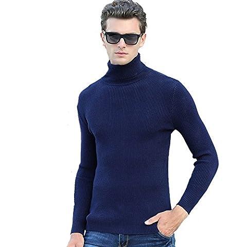 GoblinKingdom Men Turtleneck Wool Knit Sweater Long Sleeve Slim Jumper