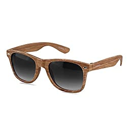Laurels Woods UV Protected Wood Finish Wayfarer Sunglasses - Black Lens - Ls-Wd-020606