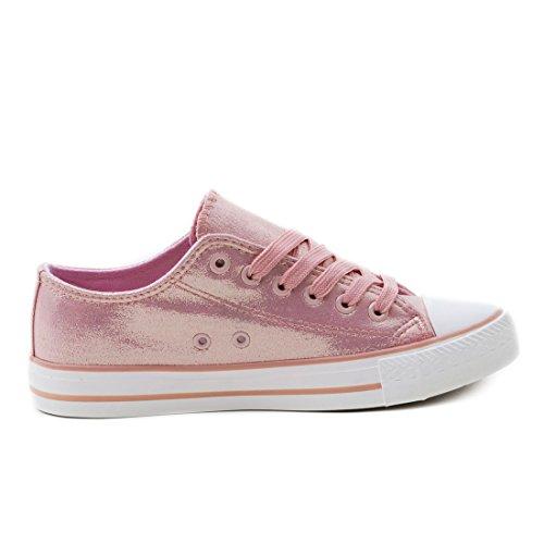 Trendige Unisex Damen Kinder Herren Schnür Sneaker Low Top Schuhe Canvas Textil Champagner Metallic