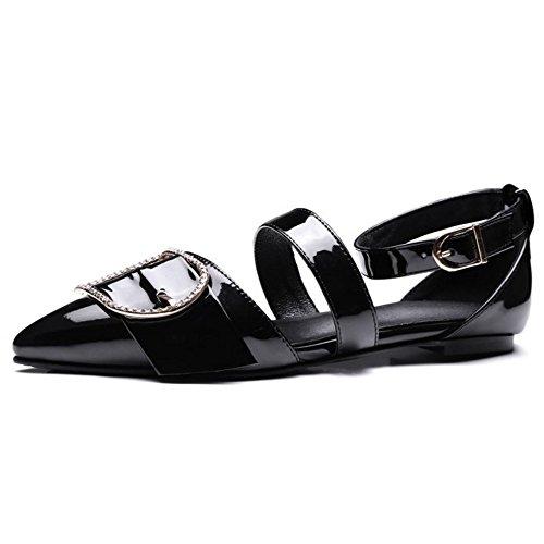 COOLCEPT Damen Mode Knochelriemchen Sandalen Geschlossene Flach Schuhe Schwarz