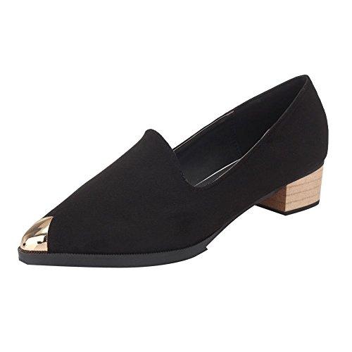 Mee Shoes Damen chunky heels Niedrig Nubukleder Pumps Schwarz