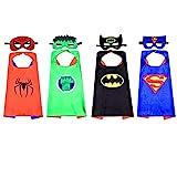 Kbnian 4 Superhelden Kostüm Kinder Umhänge Kostüm   mit 8 Masken Verschiedene Muster Captain America Flash Superman und Batman für Party, Halloween, Weihnachts, Karneval