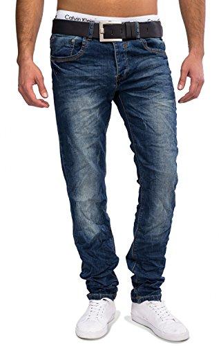 Herren Jeans · (Regular Fit) Dunkle Jeans mit Crinkle Used Effekt, leichter Waschung (Stone Washed) und geradem Bein (Straight Leg), Destroyed · H1606 von Jeansnet Blau