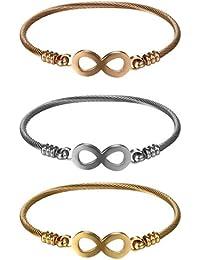 8add8674708a JewelryWe Schmuck 3pcs Set Damen Armband, Elegant Lieben Infinity  Unendlichkeit Zeichen Draht Kabel Viking Stulpe