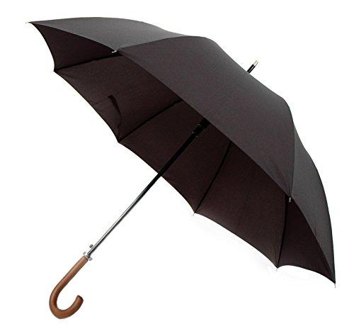 Octave® da uomo nero apertura automatica ombrello con manico in legno e tela di alta qualità