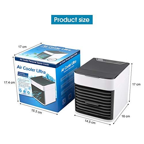 Aire Acondicionado Móvil,  3 en 1 USB Mini Ventilador Humidificador Purificador con 7 Colores Luces LED,  con 3 Velocidades de Viento para Casa/Oficina