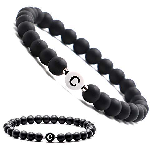 Personalisierte Namensarmbänder | Partnerarmbänder mit Onyx Perlen | Perlenarmband | Individueller Schmuck für Männer und Frauen | Buchstabe C