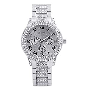 Damen Uhren, MEIbax Metall Armband Quarz Armband Gold Armband Kristall Diamant Gold Uhr Analog Quarz