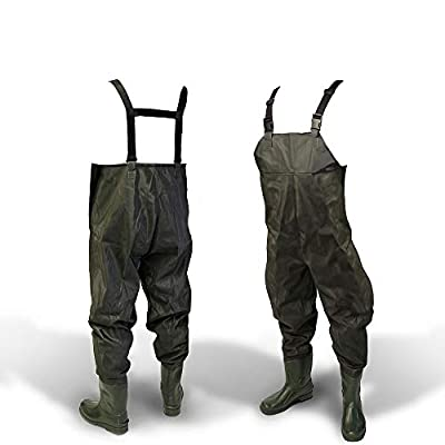 DNA NEW 100% Waterproof Lightweight Green PVC Carp Coarse Fly Fishing Chest Waders with Elasticated Quick Release Buckle Suspenders and High Grip Boots/Wellies in by DNA