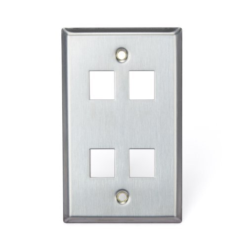 Leviton 43080-1S4 QuickPort Wallplate, Single Gang, 4-Port, Stainless Steel by Leviton (Gang 4 Leviton)