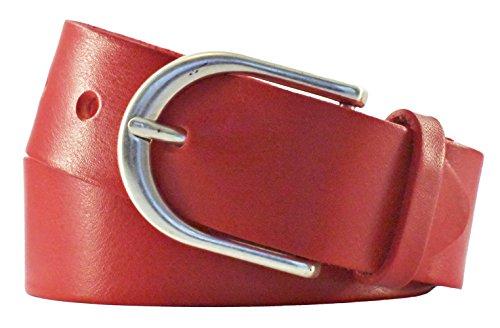 Vanzetti Damen Leder Gürtel Damengürtel Vollrindleder Rot 35mm (90 cm)