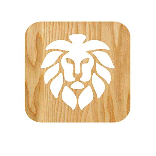 Lion Head Solid Wood Table Lampe Creative Hollow Engraving Geschenklampe 3D Lampe 190x190x30mm 7,in/7.55in/7.5in/1.2in)