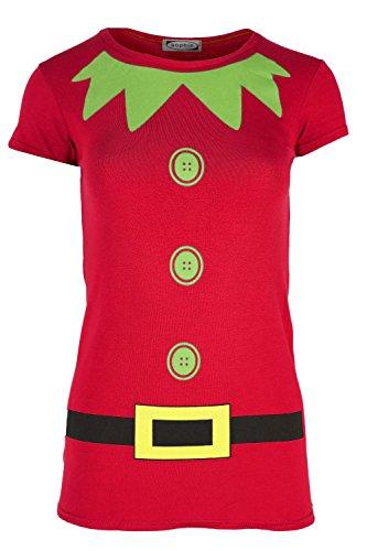 shirt Damen Elfe Kostüm Weihnachten Flügelärmel Jerseykleid Top - Rot, 40/42 (Elf Costums)