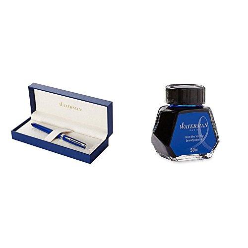 Waterman Hemisphere Foutain Pen Blue Obsession Medium Nib with Fountain Pen Ink Bottle Serenity Blue