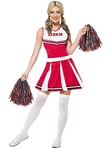 Fancy Ole - Damen Frauen Frauen High School University Cheerleader Kostüm mit Kleid und Pom Poms, perfekt für Karneval, Fasching und Fastnacht, M, ()