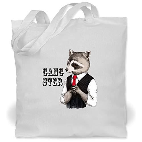 Statement Shirts - Gangster Waschbär - Unisize - Weiß - WM101 - Stoffbeutel aus Baumwolle Jutebeutel lange (Keine Kostüm Meme)