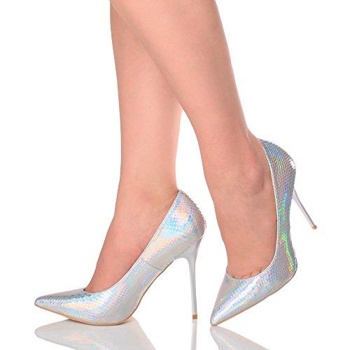 Donna tacco alto lavoro festa elegante scarpe de moda décolleté a punta taglia Argento Sirena Iridescente