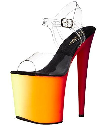 Pleaser Rainbow-808UV, Sexy Stiletto Plateau High Heels Sandaletten, Regenbogenfarben Klar-Multi-Neon