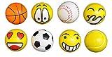 Schnäppchenladen24 Anti-Stressball 8er Set (4X Emoji Gesichter + 4X Sportball) - Stressbälle Knautsch Knet Smiley Grimasse Ball Stressabbau Anti-Stress-Bälle