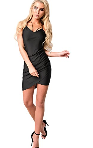 Women's Ladies Stunning Glam Gathered Bodycon Dress Black