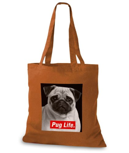 StyloBags Jutebeutel / Tasche Pug Life v2 Choco