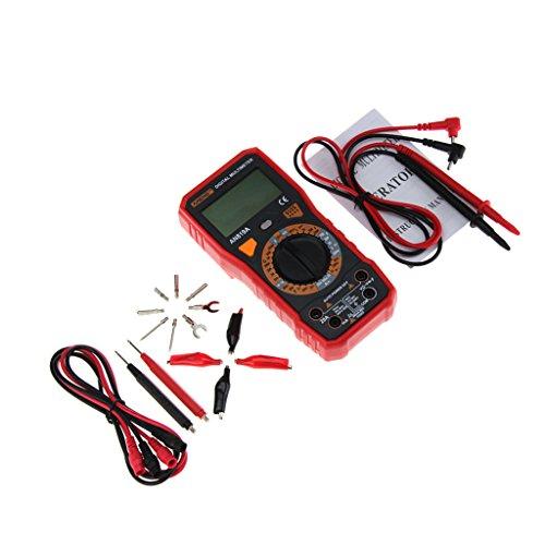 F Fityle Digital Multimeter Dmm Voltmeter Amperemeter Ohmmeter Stromwiderstand Tester mit Testleitungen - Rot Dmm-digital-multimeter