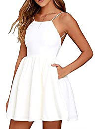 Ninimour Women Halter Backless Spaghetti Strap Floral Print Short Mini Party Dress