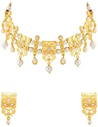 Voylla Golden State Of Mind Pearl Choker Necklace Set For Women