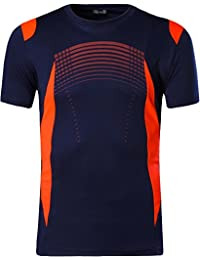 Jeansian Hombre Camisetas Deportivas Wicking Quick Dry tee T-Shirt Sport Tops LSL194 Navy XL