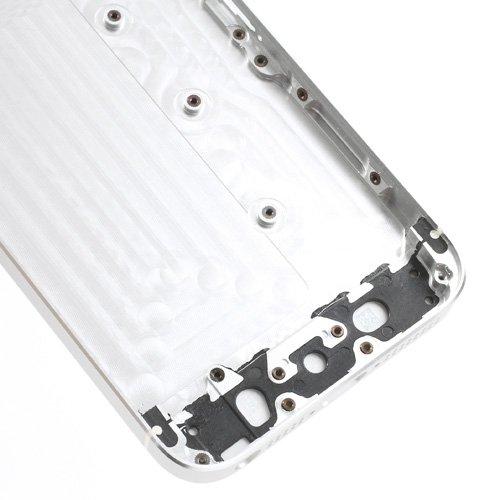 iPhone 5S, Rückseite Gehäuse, fogeek Neue Set komplett mit Glas weiß W/Seite weiß Trim Gehäuse aus Metall für Notebook für iPhone 5S 5GS Knöpfe (W/SIM Karte Tablett) silber / schwarz