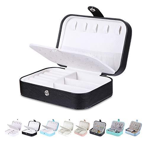 Homaxy Schmuckkästchen Damen Klein Schmuckbox PU-Leder Reisen Schmuck Aufbewahrungsbox Mädchen Schmuckschatulle für Ohrringe Ringe - Schwarz 1(Doppelschicht)