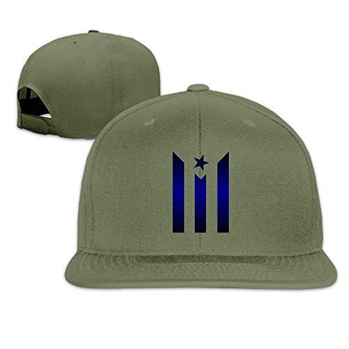 Osmykqe Blue Black Puerto Rico Flag Hip Hop Baseball Caps Snapback Hats GH547 -