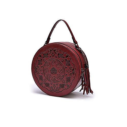 YiCanG Handtasche/hochwertige Leder Tote/Retro-Stil geprägt Drum Bag/Business Travel Handtasche/High 21 * Breite 9,5 * Länge 11,5 Du verdienst es zu haben (Geprägte Gefüttert Tote)