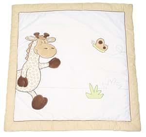 roba Spiel- & Krabbeldecke 'Safari', Baby's gepolsterte Spielunterlage / Laufgittereinlage 100x100cm, 100% Baumwolle, inkl, Baby-Spielzeug