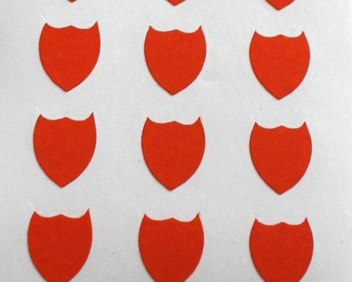 150 Etiquetas, 10x8mm Forma De Escudo, Naranja, pegatinas autoadhesivas, Minilabel Formas