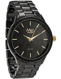 M&c Ferretti FT14302 - Reloj para Hombre, Acero Inoxidable, Esfera Negra