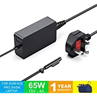 Surface Pro Charger, Surface Pro 3/4 / 5 & 6 Charger, Surface Book 1 & 2, Surface Laptop & Surface Go Charger, 15V 4A 65W Power Supply Adapter Compatible for Both Microsoft Windows Laptop/Tablet